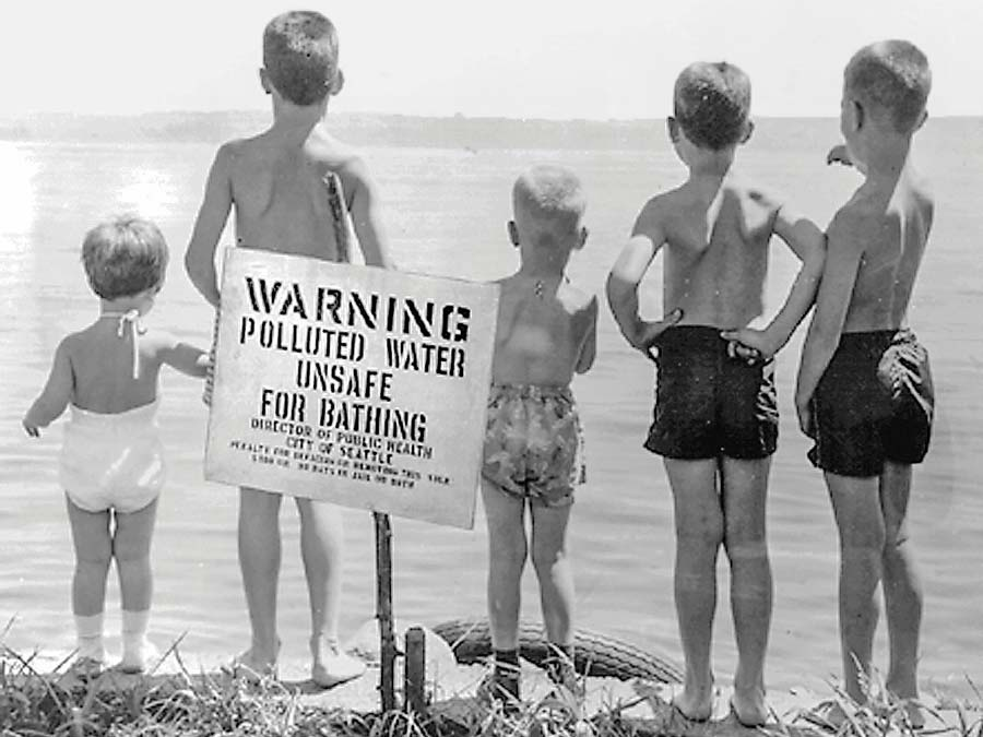 Photo of a sign warning about pollution in Lake Washington.